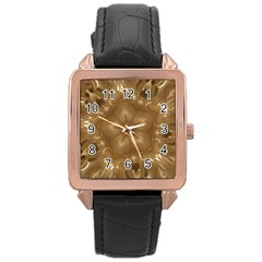 Elegant Gold Brown Kaleidoscope Star Rose Gold Leather Watch  by yoursparklingshop
