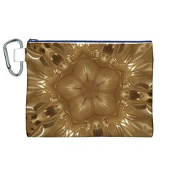 Elegant Gold Brown Kaleidoscope Star Canvas Cosmetic Bag (xl) by yoursparklingshop