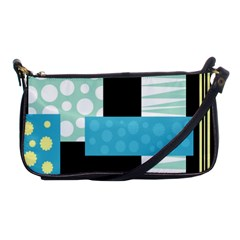 Blue Collage Shoulder Clutch Bags by Valentinaart