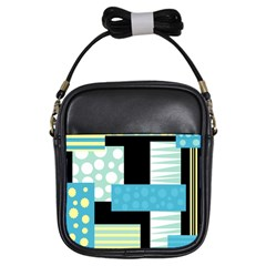 Blue collage Girls Sling Bags by Valentinaart