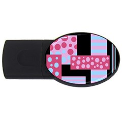 Pink Collage Usb Flash Drive Oval (2 Gb)  by Valentinaart