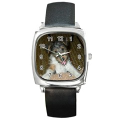 Wire Fox Terrier Cute Pup Square Metal Watch by TailWags