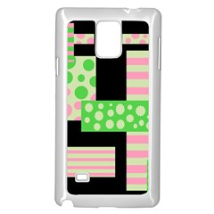 Green And Pink Collage Samsung Galaxy Note 4 Case (white) by Valentinaart