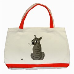 Gray Cat Classic Tote Bag (red) by Valentinaart