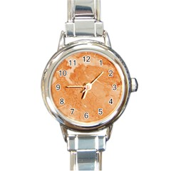 Rose Gold Marble Stone Print Round Italian Charm Watch by Dushan