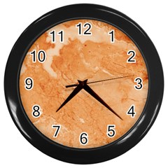 Rose Gold Marble Stone Print Wall Clocks (black) by Dushan
