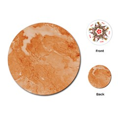 Rose Gold Marble Stone Print Playing Cards (round)  by Dushan
