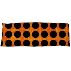 Circles1 Black Marble & Orange Marble (r) Body Pillow Case Dakimakura (two Sides) by trendistuff