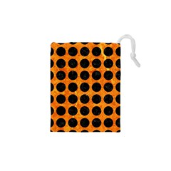 Circles1 Black Marble & Orange Marble (r) Drawstring Pouch (xs) by trendistuff