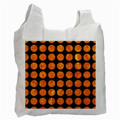 Circles1 Black Marble & Orange Marble Recycle Bag (one Side) by trendistuff