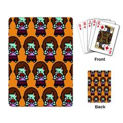 Zombie Woman Fill Orange Playing Card by AnjaniArt