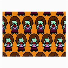 Zombie Woman Fill Orange Large Glasses Cloth (2 Side) by AnjaniArt
