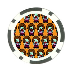 Zombie Woman Fill Orange Poker Chip Card Guards by AnjaniArt