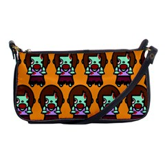 Zombie Woman Fill Orange Shoulder Clutch Bags by AnjaniArt