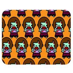 Zombie Woman Fill Orange Double Sided Flano Blanket (medium)  by AnjaniArt