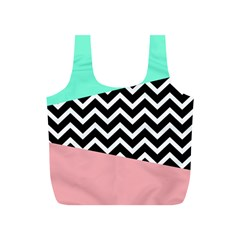 Chevron Green Black Pink Full Print Recycle Bags (s)  by AnjaniArt
