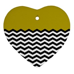 Colorblock Chevron Pattern Mustard Heart Ornament (2 Sides) by AnjaniArt