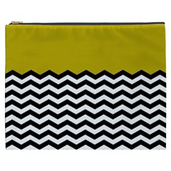 Colorblock Chevron Pattern Mustard Cosmetic Bag (xxxl)  by AnjaniArt