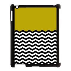 Colorblock Chevron Pattern Mustard Apple Ipad 3/4 Case (black) by AnjaniArt