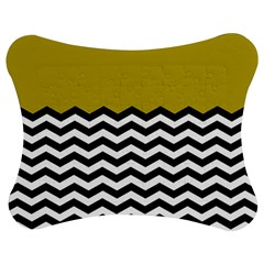 Colorblock Chevron Pattern Mustard Jigsaw Puzzle Photo Stand (bow) by AnjaniArt