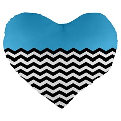 Color Block Jpeg Large 19  Premium Heart Shape Cushions by AnjaniArt