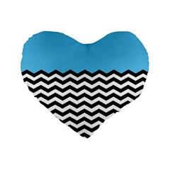 Color Block Jpeg Standard 16  Premium Flano Heart Shape Cushions by AnjaniArt