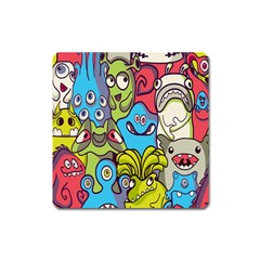 Colourful Monster Flooring Square Magnet by AnjaniArt