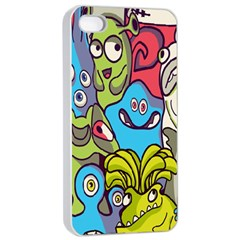Colourful Monster Flooring Apple Iphone 4/4s Seamless Case (white) by AnjaniArt