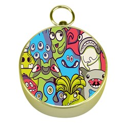 Colourful Monster Flooring Gold Compasses by AnjaniArt
