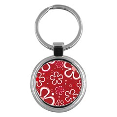 Flower Red Cute Key Chains (round)  by AnjaniArt