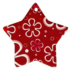 Flower Red Cute Star Ornament (two Sides)  by AnjaniArt