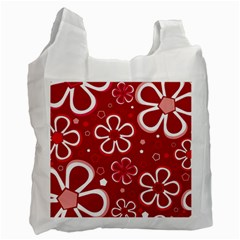 Flower Red Cute Recycle Bag (one Side) by AnjaniArt