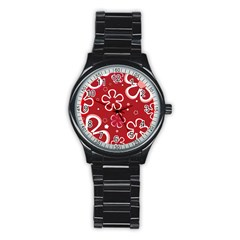 Flower Red Cute Stainless Steel Round Watch by AnjaniArt