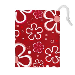 Flower Red Cute Drawstring Pouches (extra Large) by AnjaniArt
