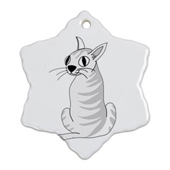 White Cat  Ornament (snowflake)  by Valentinaart