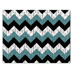 Green Black Pattern Chevron Rectangular Jigsaw Puzzl by AnjaniArt