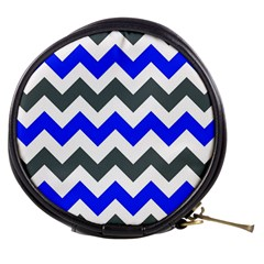 Grey And Blue Chevron Mini Makeup Bags by AnjaniArt
