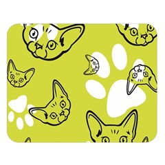 Face Cat Green Double Sided Flano Blanket (large)  by AnjaniArt