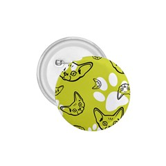 Face Cat Green 1 75  Buttons by AnjaniArt