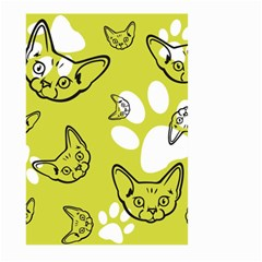 Face Cat Green Large Garden Flag (two Sides) by AnjaniArt