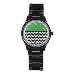 Lime Green Chevron Stainless Steel Round Watch by AnjaniArt