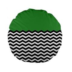 Lime Green Chevron Standard 15  Premium Flano Round Cushions by AnjaniArt