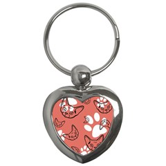 Face Cat Pink Cute Key Chains (heart)  by AnjaniArt