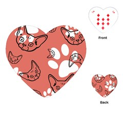 Face Cat Pink Cute Playing Cards (heart)  by AnjaniArt