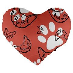 Face Cat Pink Cute Large 19  Premium Flano Heart Shape Cushions by AnjaniArt