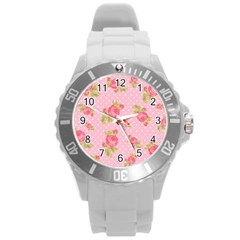 Rose Pink Round Plastic Sport Watch (l) by AnjaniArt