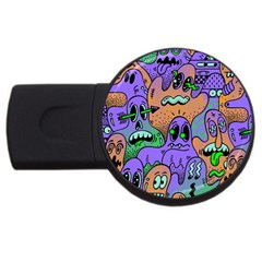 Monster Alien Ghost Usb Flash Drive Round (2 Gb)  by AnjaniArt