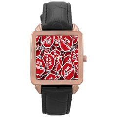 Road Sign Wrong Way Rose Gold Leather Watch  by AnjaniArt