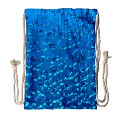 Shattered Blue Glass Drawstring Bag (large) by AnjaniArt