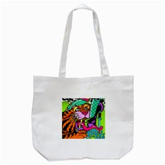 Tiger Lion Tote Bag (white) by AnjaniArt